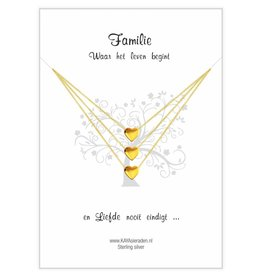 KAYA sieraden Card Family 'golden hearts'