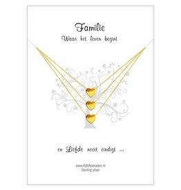 KAYA sieraden Wenskaart Familie 'golden hearts'
