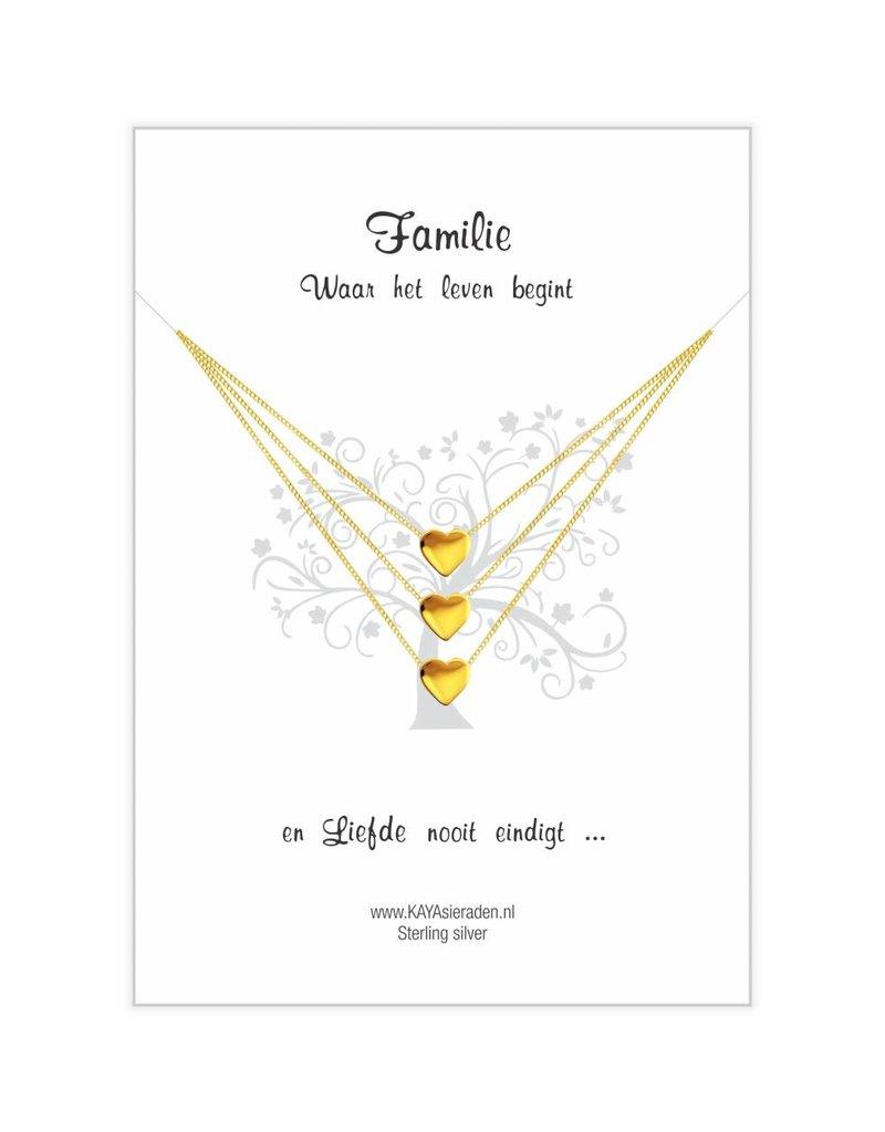 Wenskaart Familie 'golden hearts'