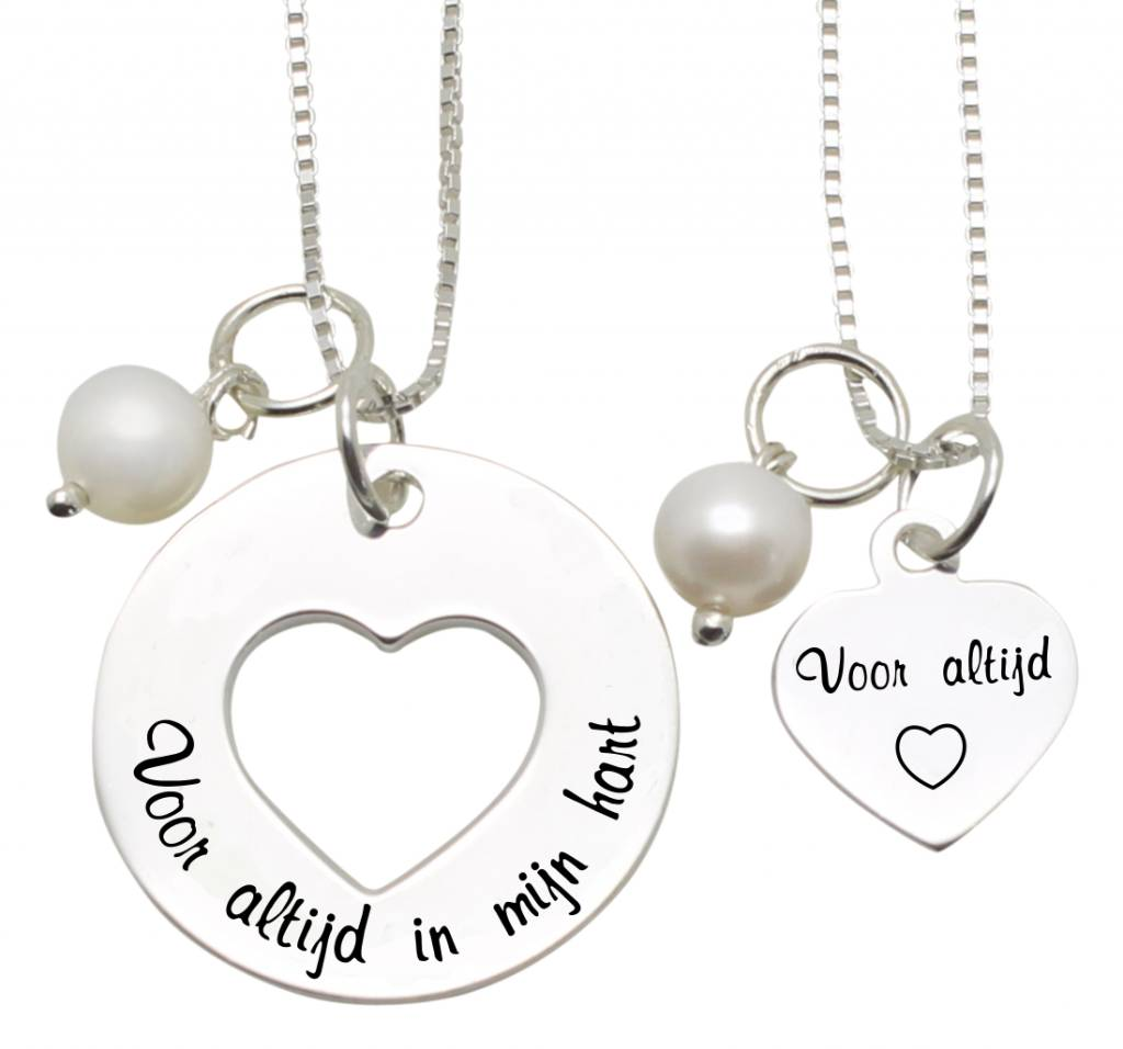 KAYA sieraden Mom & me kettingen 'Voor altijd in mijn hart....voor Altijd'