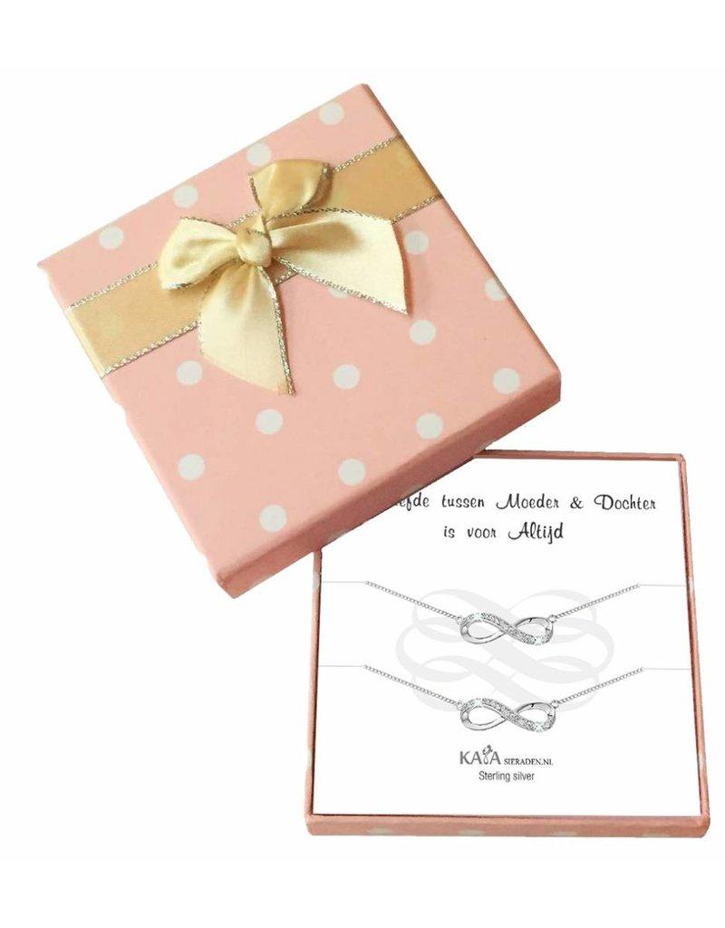 KAYA sieraden Cadeaudoosje Zilveren armbandjes 'Infinity' Moeder dochter