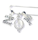 KAYA sieraden Zilveren Crystal Voorletter bedel ★voor aan ketting★