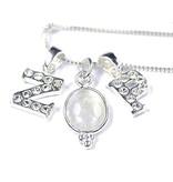 Zilveren Crystal Voorletter bedel ★voor aan ketting★