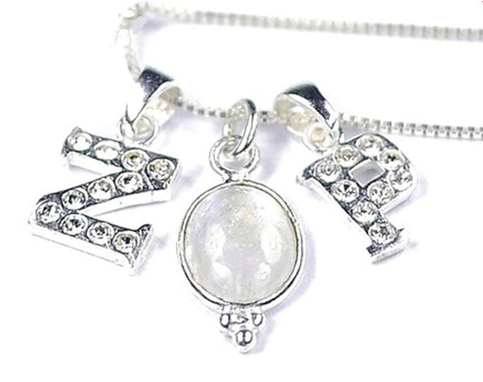 Silver Crystal Initial charm necklace ★ ★ for at