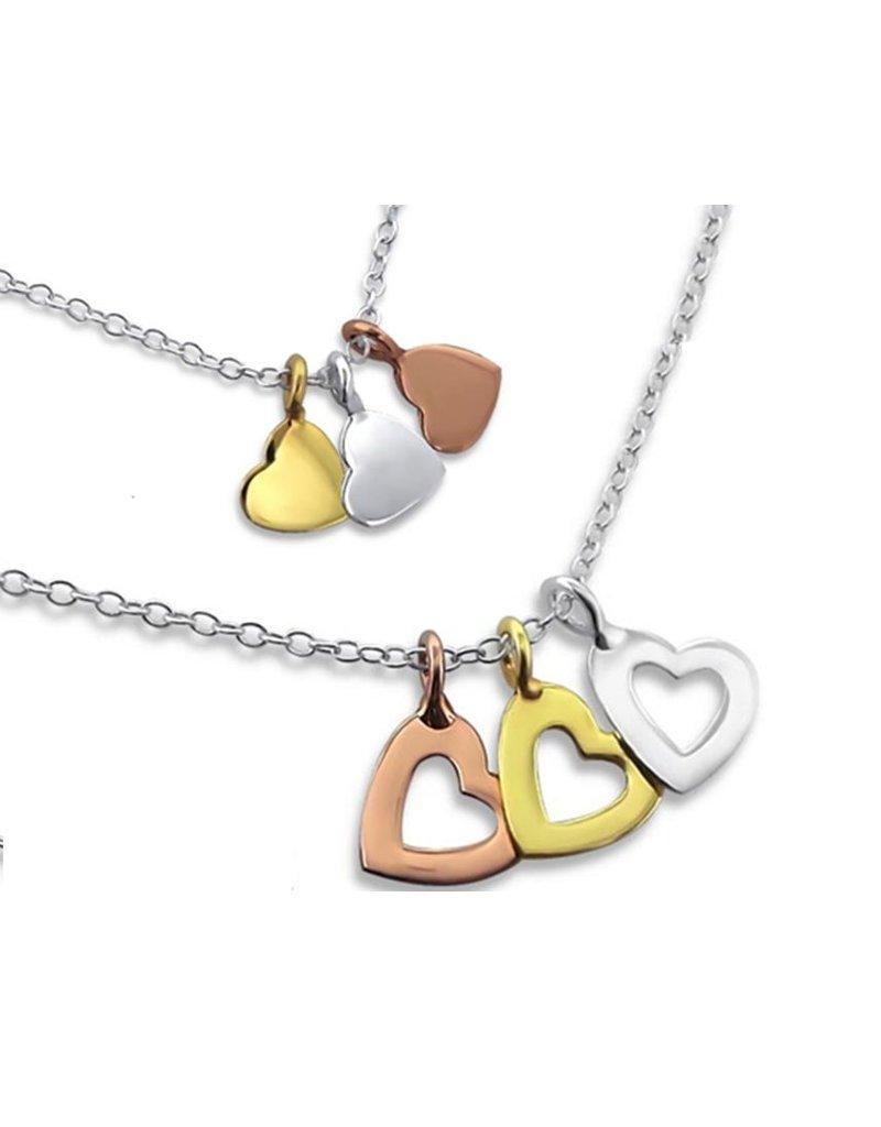 Zilveren ketting met 3 kleuren hartjes