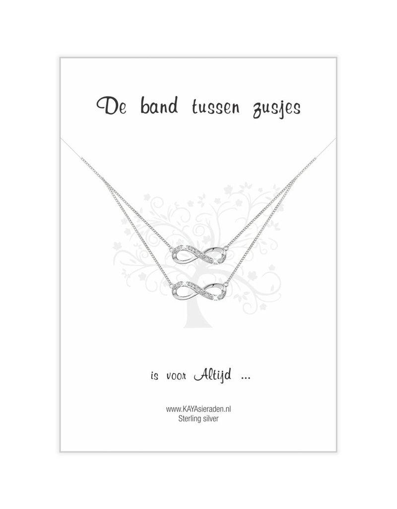 KAYA sieraden Zilveren Infinity kettingen 'De band tussen zusjes'