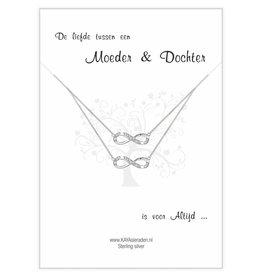 Wenskaart met Zilveren Infinity kettingen 'De liefde tussen Moeder & Dochter'