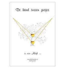 Wenskaart 'de band tussen zusjes' gold hearts