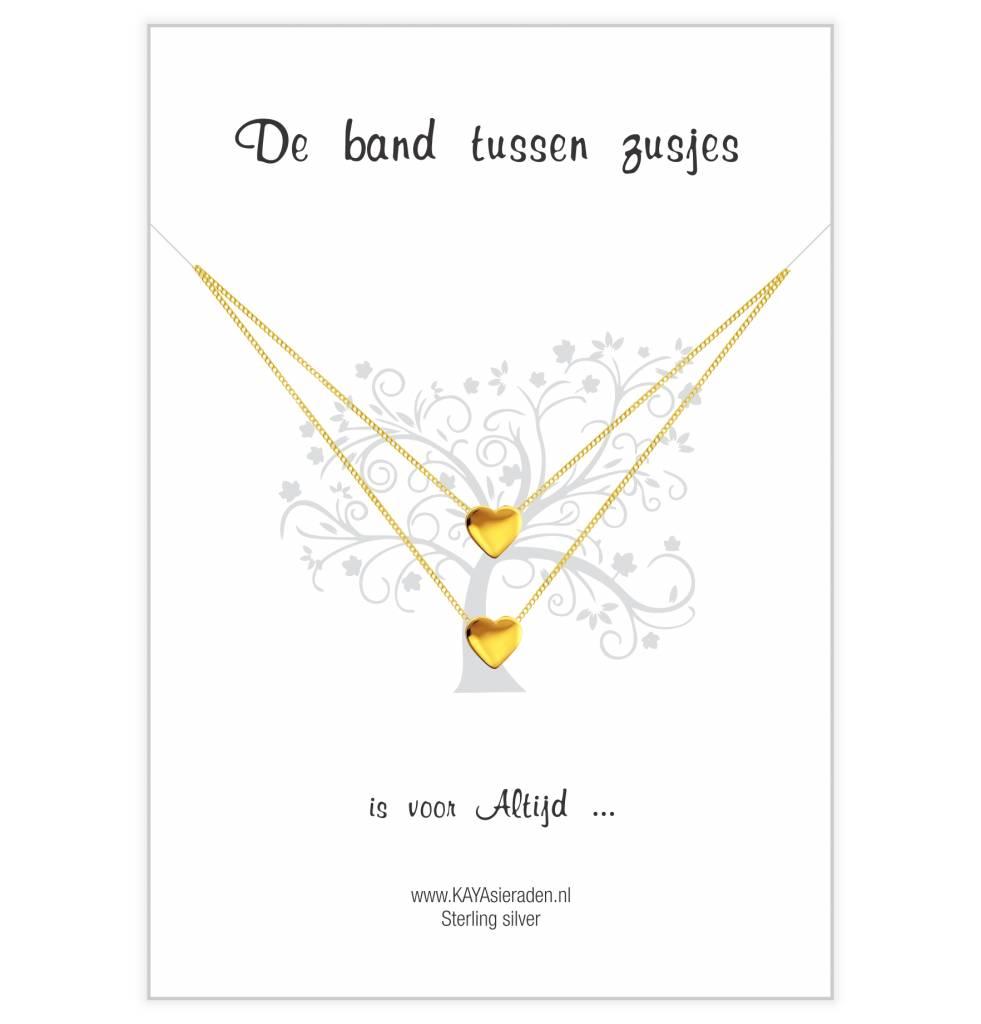 KAYA sieraden Wenskaart 'de band tussen zusjes' gold hearts