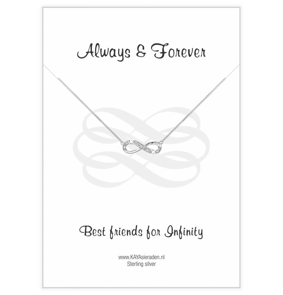 KAYA sieraden Wenskaart met zilveren ketting 'Always Best Friends'