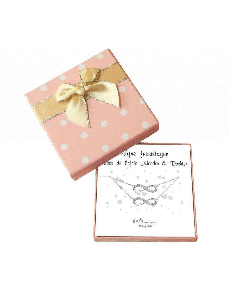 KAYA sieraden Cadeaudoosje Infinity 'Fijne feestdagen' voor Moeder en Dochter