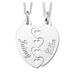 KAYA sieraden Names4ever Set van 2 Zilveren Breekhartjes