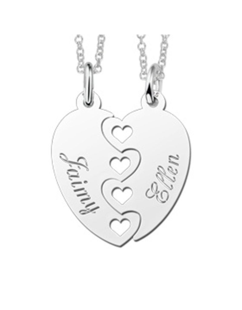 KAYA sieraden 2 Silver friendship necklaces 'puzzle pieces' - Copy
