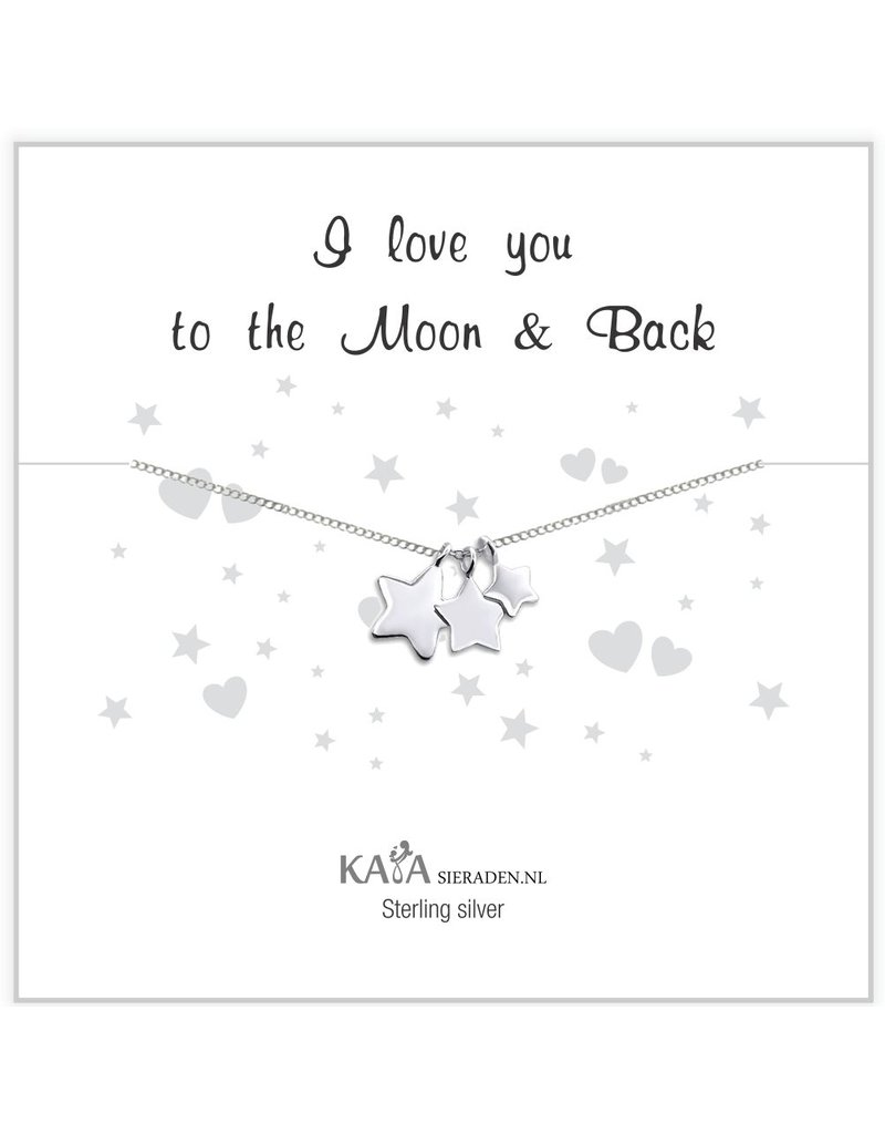 KAYA sieraden Cadeaudoosje zilveren ketting 'I love you to the Moon & Back'