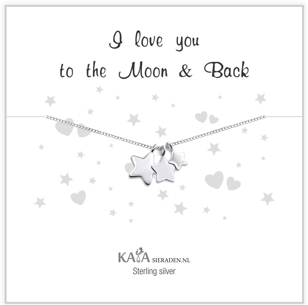 KAYA sieraden Cadeaudoosje zilveren ketting 'I love you to the Moon & Back'