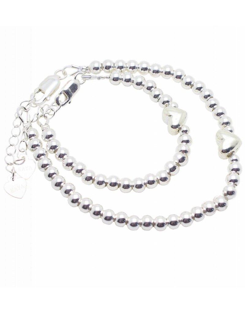 KAYA sieraden Zilveren armbanden set 'Cute Balls' met hartje