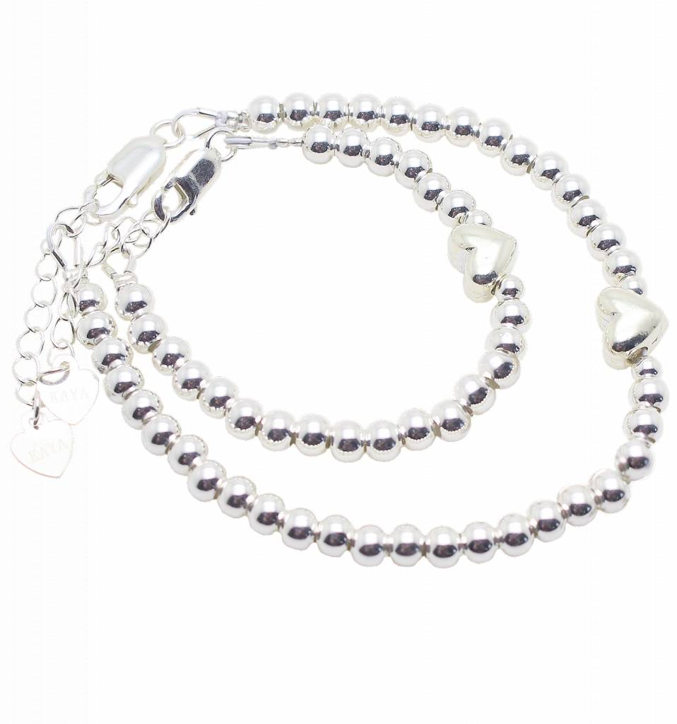 Silver bracelets set 'Cute Balls' with heart