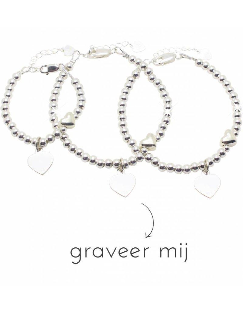 KAYA sieraden 3 Zilveren Armbanden 'Cute Balls Heart'