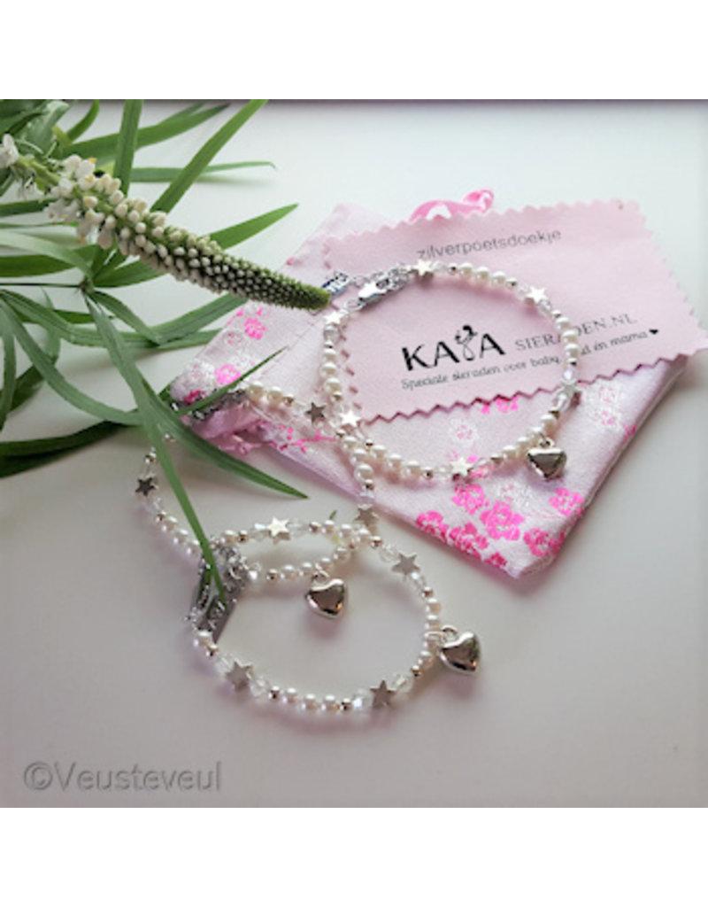 KAYA sieraden Mom & Me bracelets 'Shine Bright' White