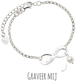 Infinity Bracelet silver 'forever' with Pearl