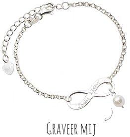KAYA sieraden Infinity Armband 'Forever' Parel of Edelsteen