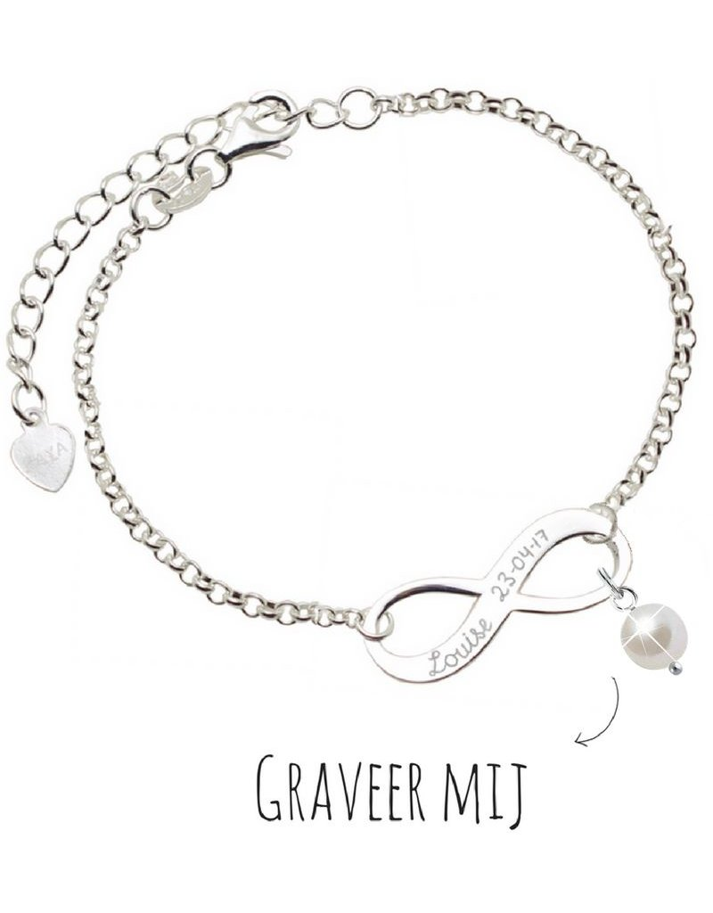 Infinity Armband zilver 'forever' met Parel