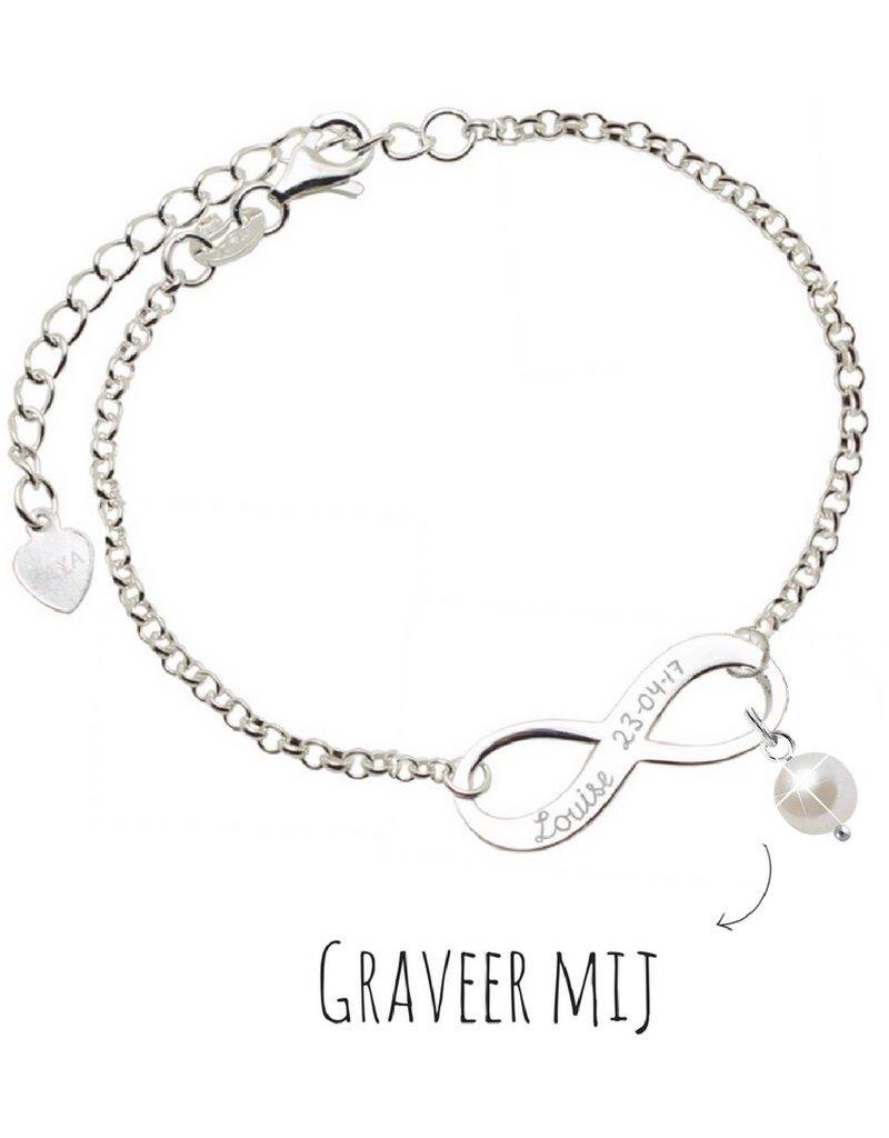 Infinity Armband zilver 'forever' met Parel