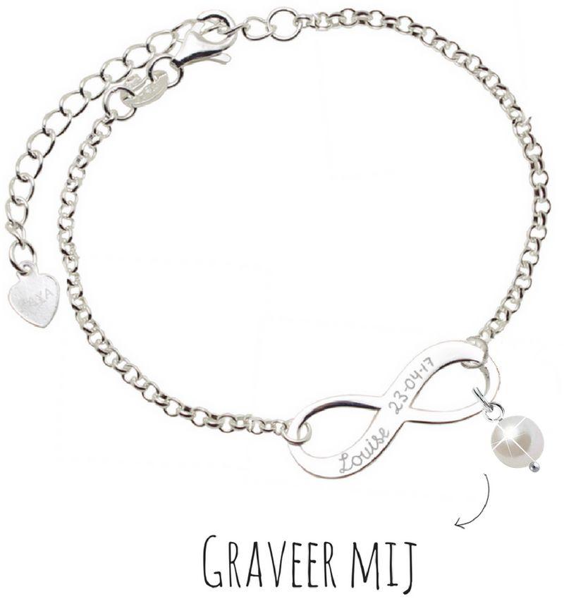 KAYA sieraden Infinity Armband  &' Parel of Geboortekristal
