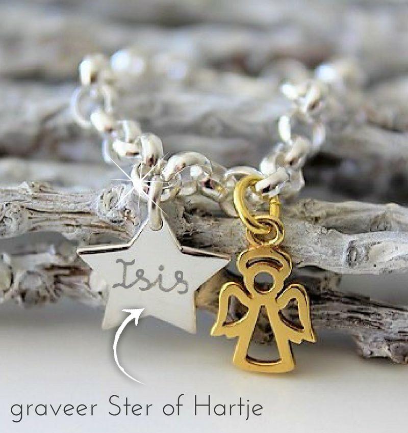 KAYA sieraden Zilveren Geloofsarmband 'Golden Angel'