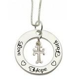 KAYA sieraden Zilveren communie ketting 'Love ♡ Hope ♡ Faith'
