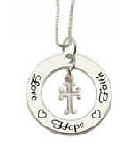 Zilveren communie ketting 'Love ♡ Hope ♡ Faith'