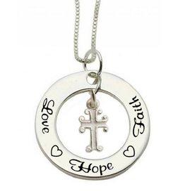 Communion silver necklace 'Love ♡ Hope ♡ Faith