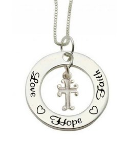 KAYA sieraden Communion silver necklace 'Love ♡ Hope ♡ Faith