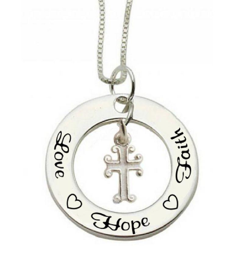 Communion silver necklace Love ♡ Hope ♡ Faith