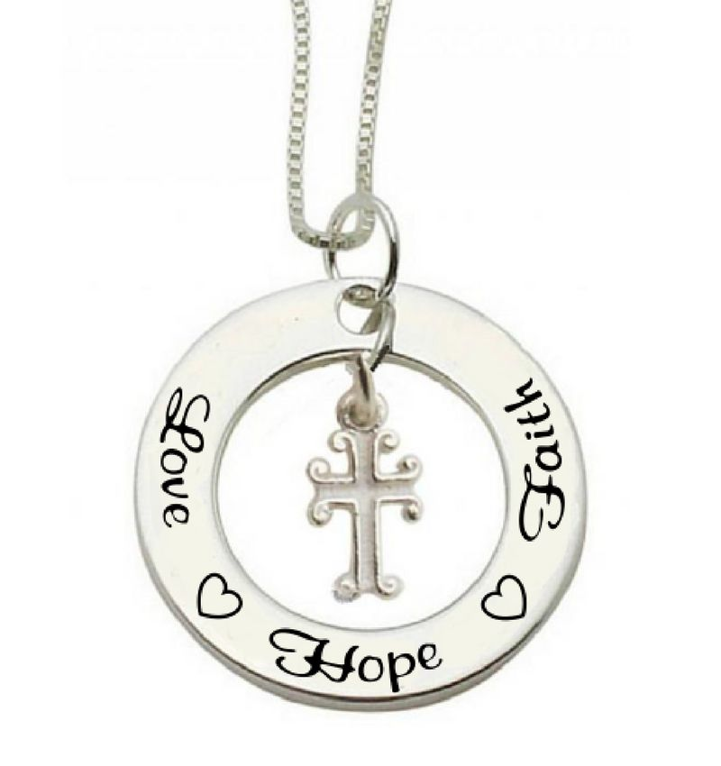 KAYA sieraden Communion silver necklace Love ♡ Hope ♡ Faith