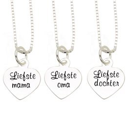 KAYA sieraden Silver 3 generation chains ' Dear grandmother,Dear Mother, Dear daughter'