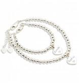 KAYA sieraden Zilveren armbanden set 'Cute Balls' met gravering + hartjes