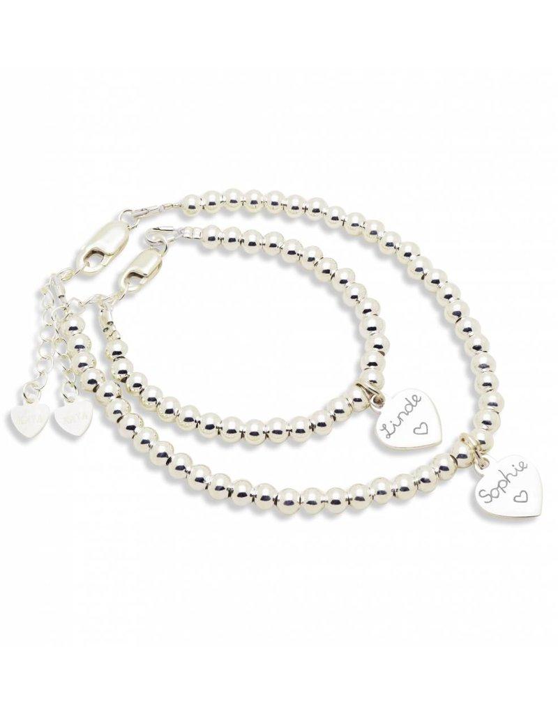KAYA sieraden Silver bracelets set 'Cute Balls' engraved