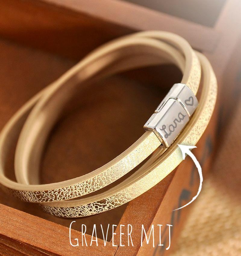 KAYA sieraden Gepersonaliseerde Leren Armband 'Infinite love'