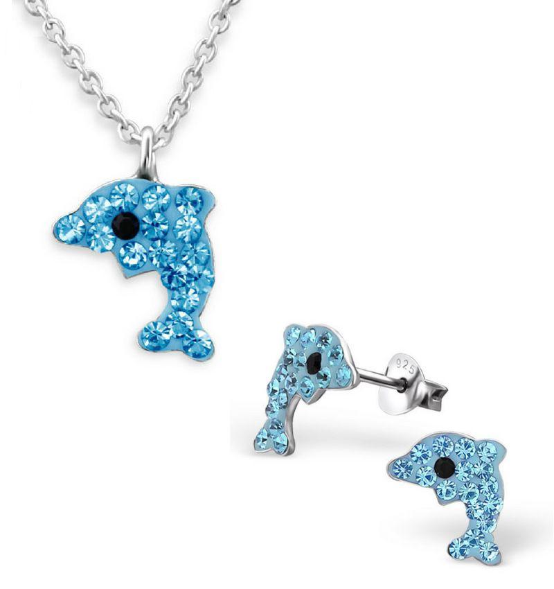 Zilveren oorbellen en ketting 'Blauwe Dolfijntjes'