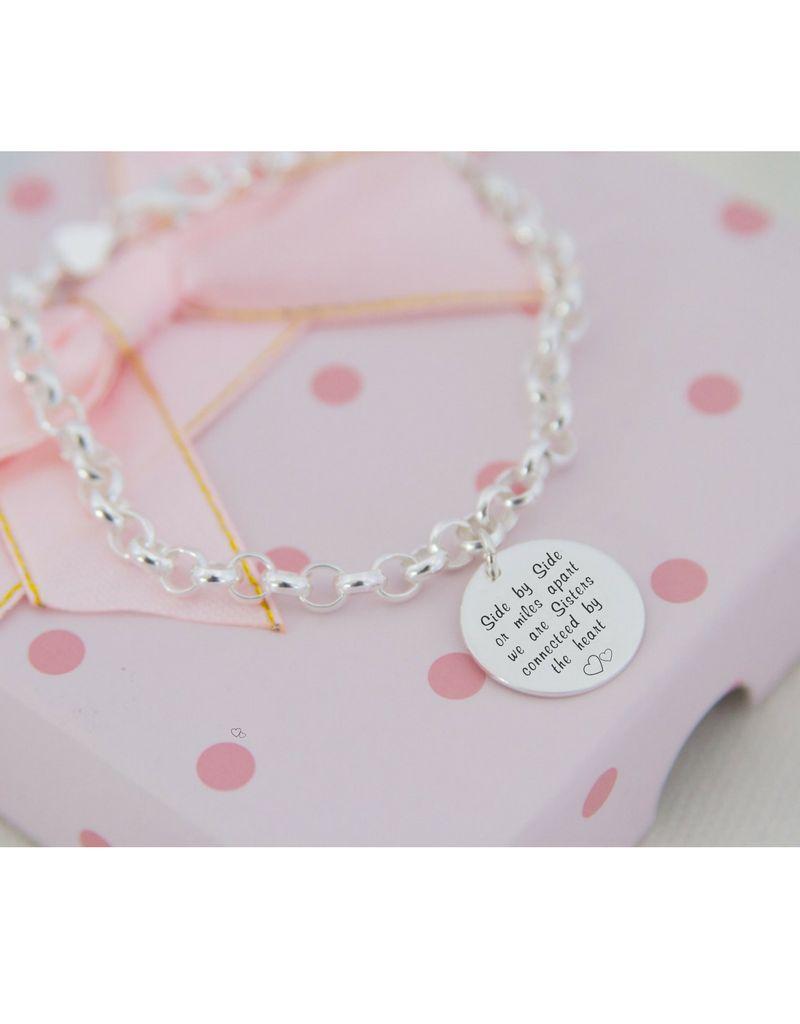 KAYA sieraden ★kies je tekst★ Zilveren armband 'Munt'