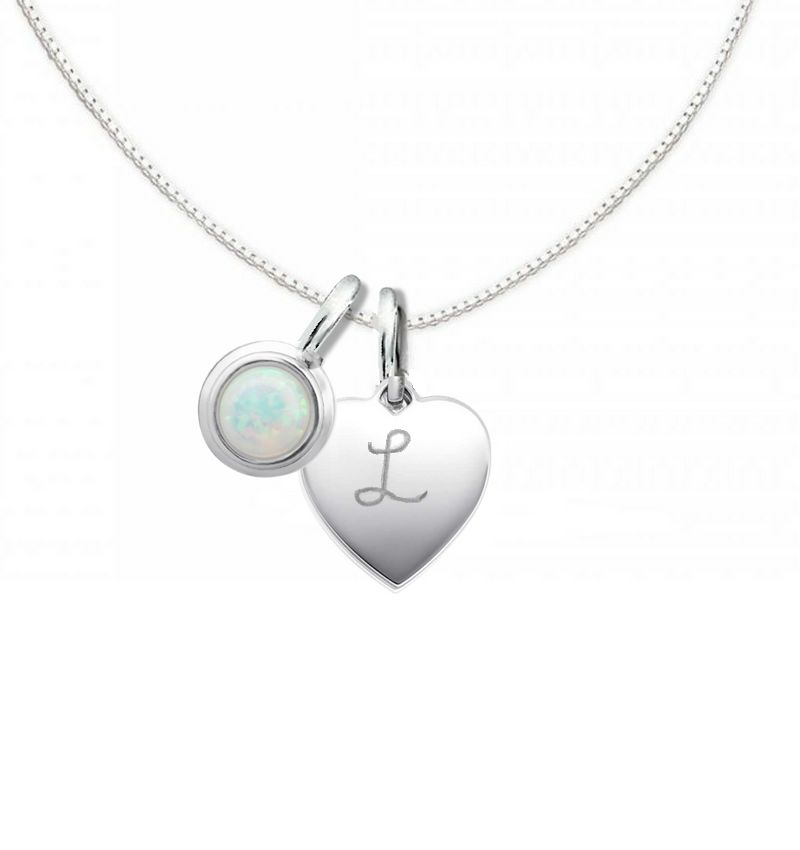 Silver Necklace 'Cutie' Opal 10x12mm