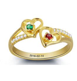 KAYA sieraden Gepersonaliseerde Gouden Ring 'twee geboortestenen'