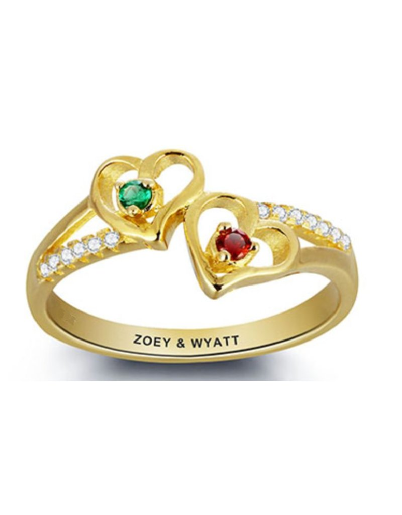 KAYA sieraden Personalized Gold Ring with two birthstones