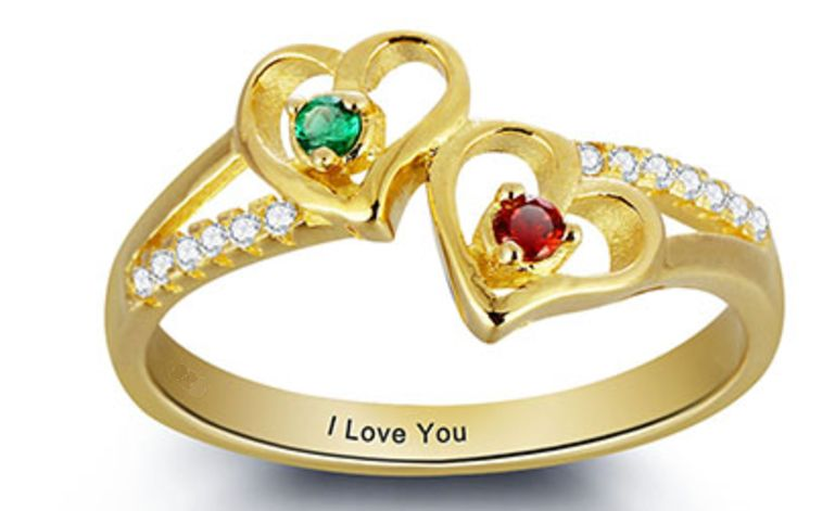 Personalized Gold Ring with two birthstones