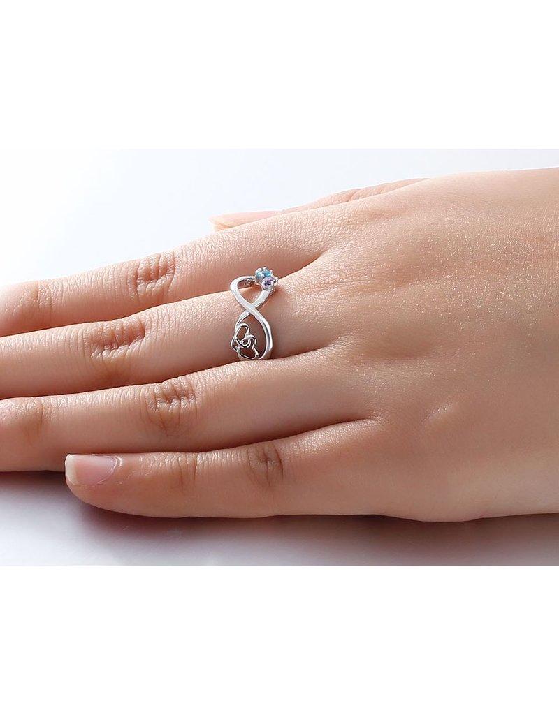 Infinity ring two birthstones' infinite love.