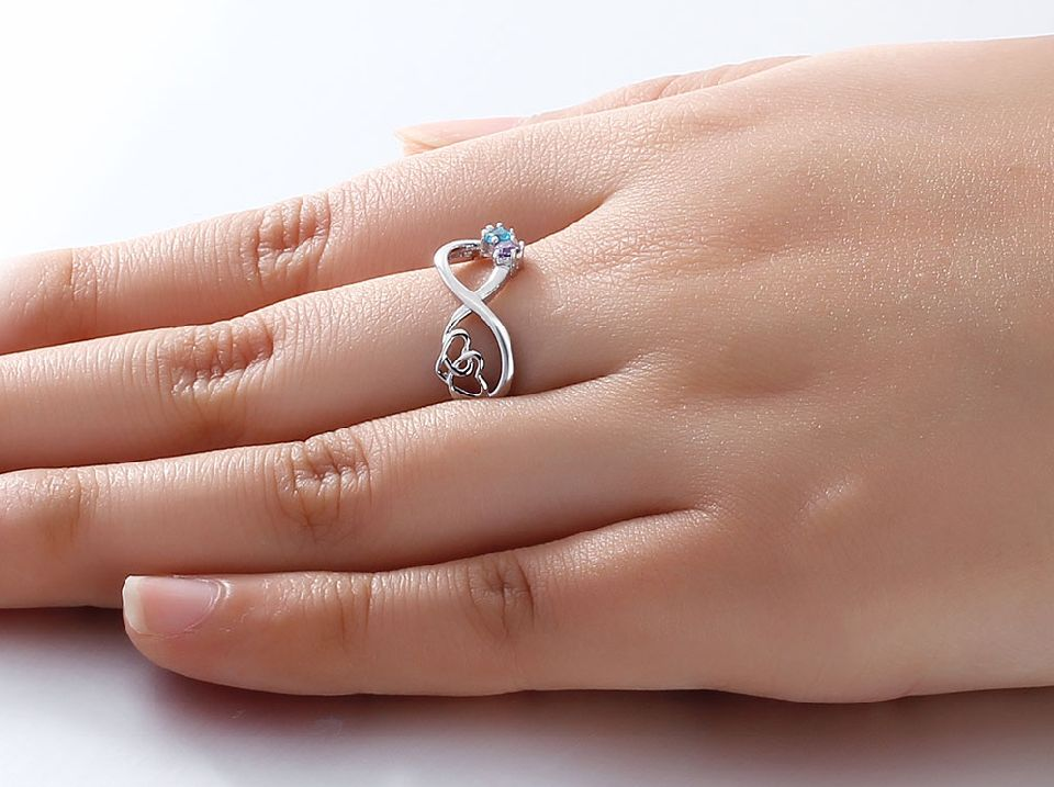KAYA sieraden Infinity ring two birthstones' infinite love.