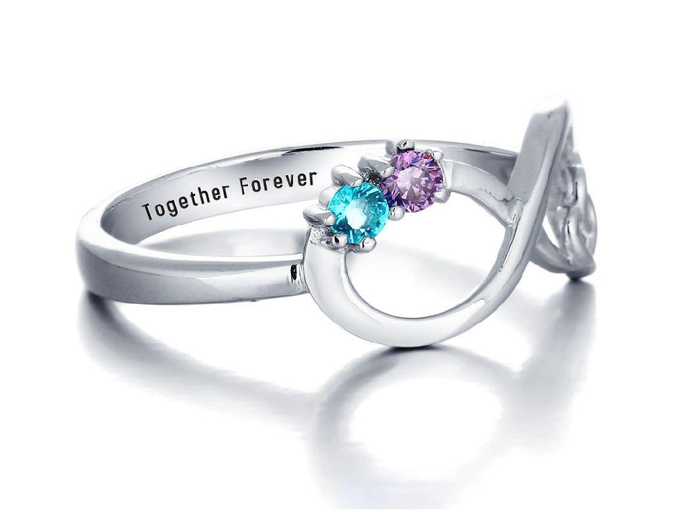 KAYA sieraden Infinity ring 2 geboortestenen 'oneindige liefde'.