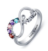 KAYA sieraden Ring met 5 geboortestenen 'family'