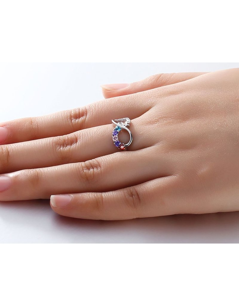 KAYA sieraden Ring with five birthstones 'family'